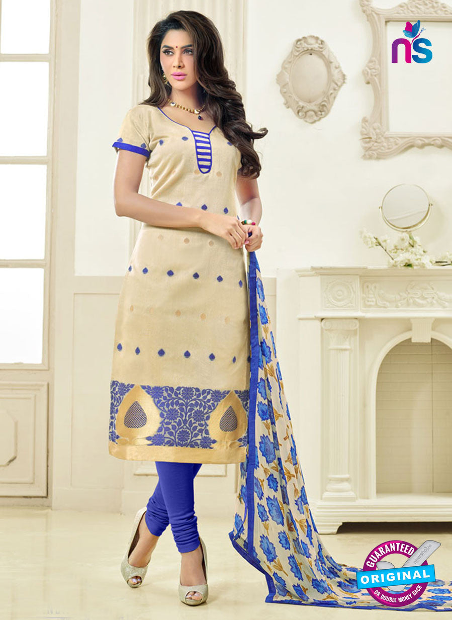 SC 13868 Beige and Blue Banarasi Jacquard Latest Designer Fancy Straight Suit
