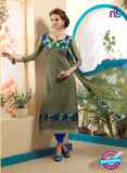 NS10816 Mehandi Green and Royal Blue Party Wear Chanderi Bhagalpuri Straight Suit
