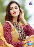 SC 13651 Yellow and Purple Printed Glace Satin Cotton Designer Fancy Ethnic Exclusive Salwar Straight Suit