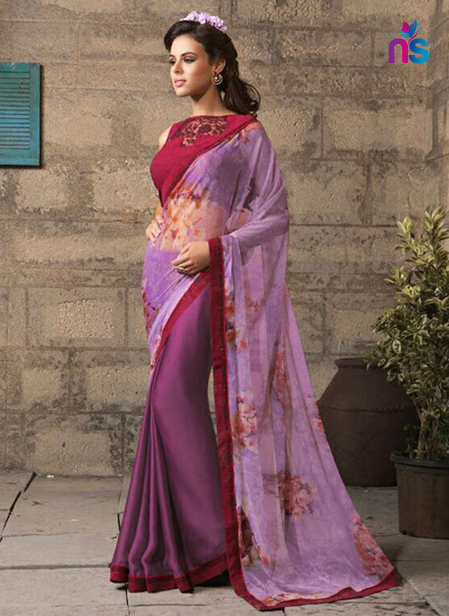 NS11324 Maroon and DeepLavender Party Wear Georgette Saree