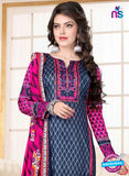 SC 13020 Blue and Magenta Printed Cambic Pakistani Suit