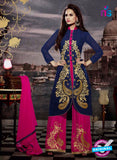 NS11189 Dark Blue and Deep Pink Faux Georgette Designer Suit