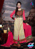 NS11182 Beige and Hot Pink Faux Georgette Designer Suit