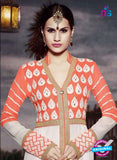 NS11183 Carrot Orange and Ivory Faux Georgette Designer Suit Online Shopping