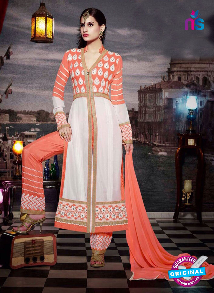 NS11183 Carrot Orange and Ivory Faux Georgette Designer Suit
