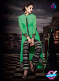 NS11184 Forest Green and Black Faux Georgette Designer Suit Online