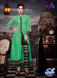 NS11184 Forest Green and Black Faux Georgette Designer Suit