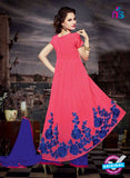 NS11187 Brilliant Rose Pink and Navy Blue Faux Georgette Designer Suit Online