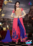 NS11187 Brilliant Rose Pink and Navy Blue Faux Georgette Designer Suit