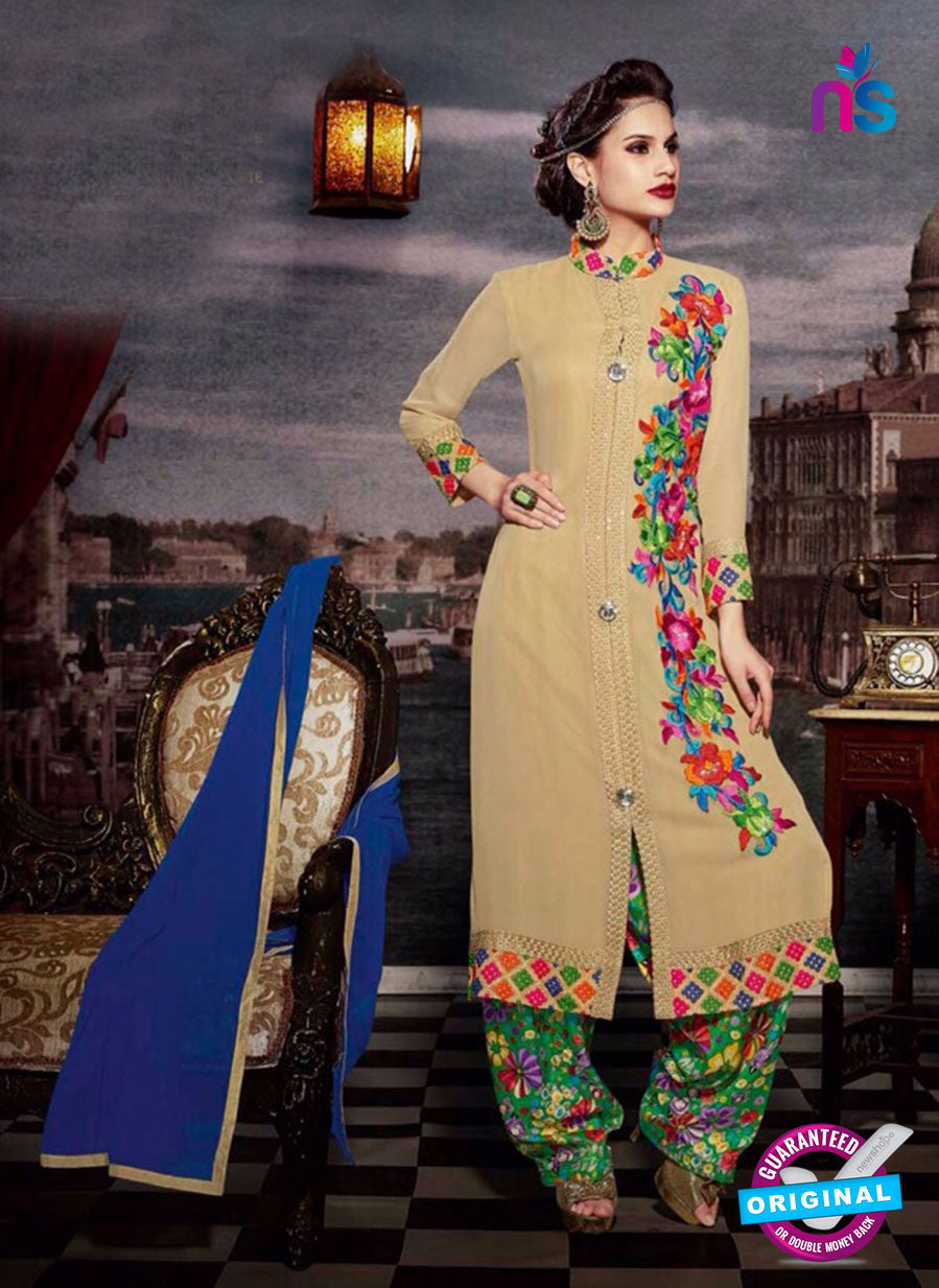 NS11188 Sandy Brown and Multicolor Faux Georgette Designer Suit