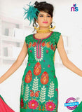 NS10842 Green and Red Georgette Chudidar Suit
