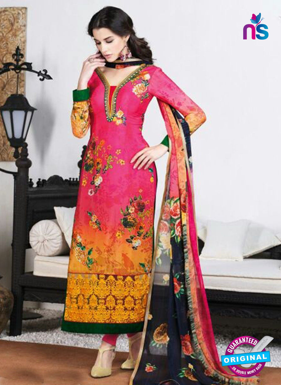AZ 3499 Pink and Yellow French Crepe  Formal Suit - Salwar Suits - NEW SHOP