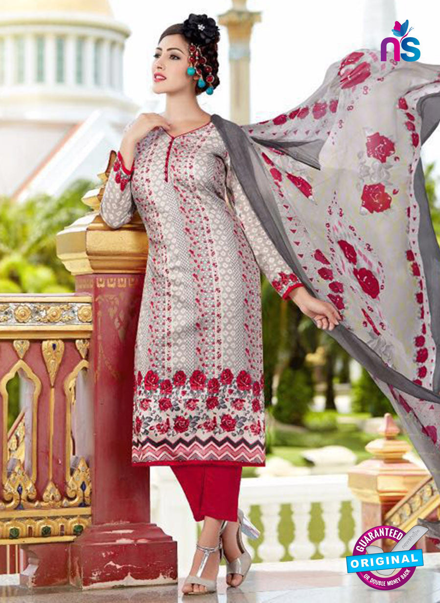SC 13644 Grey and Maroon Printed Glace Satin Cotton Designer Fancy Ethnic Exclusive Salwar Straight Suit