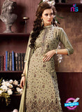 NS10960 Beige Cotton Party Wear Straight Suit