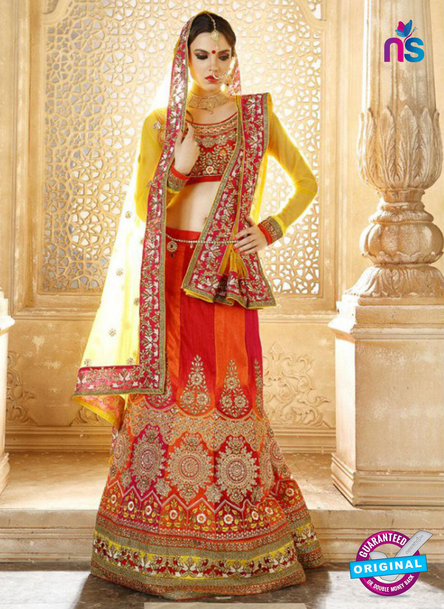 AZ 2012 Pink and Orange Dhupion Embroidered Party Wear Lehenga