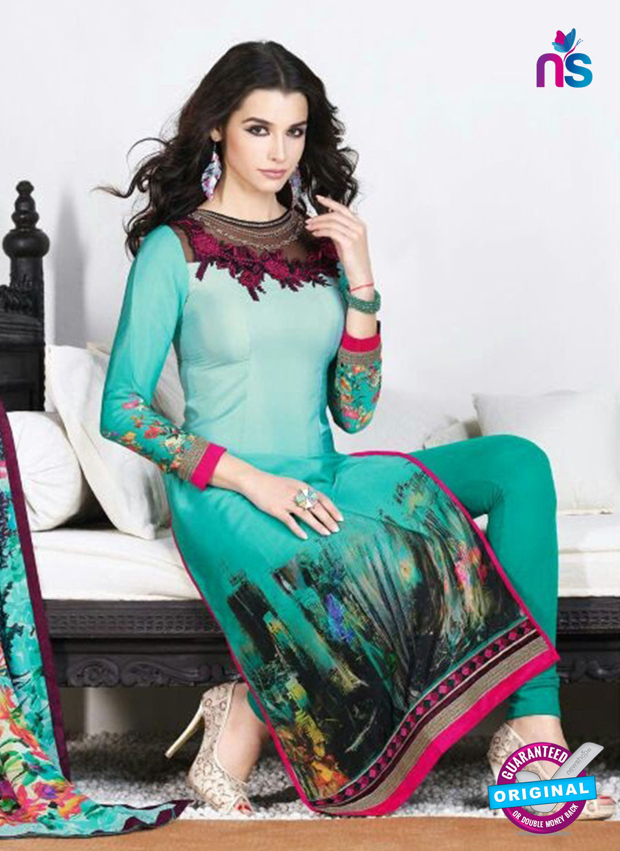 AZ 3500 Sea Green French Crepe Embriodery Formal Suit