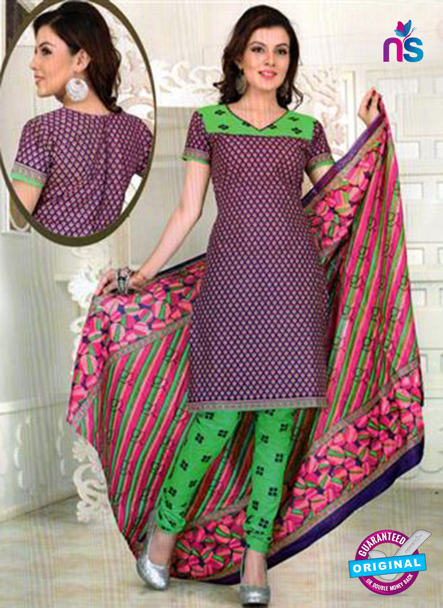 NS12100 Purple and Green Chudidar Suit