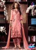 NS10961 Dark Peach and Brown Cotton Party Wear Straight Suit