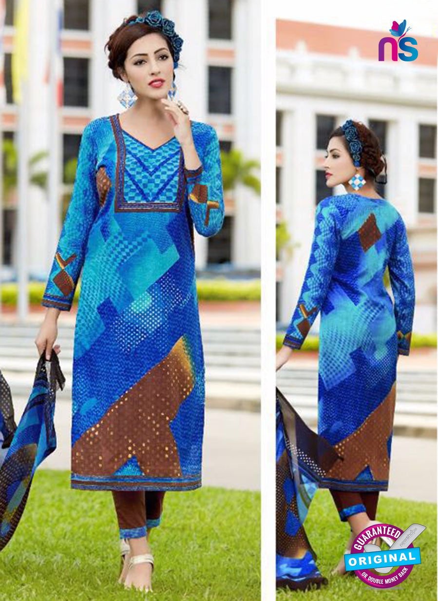 SC 13647 Blue and Brown Printed Glace Satin Cotton Designer Fancy Ethnic Exclusive Salwar Straight Suit