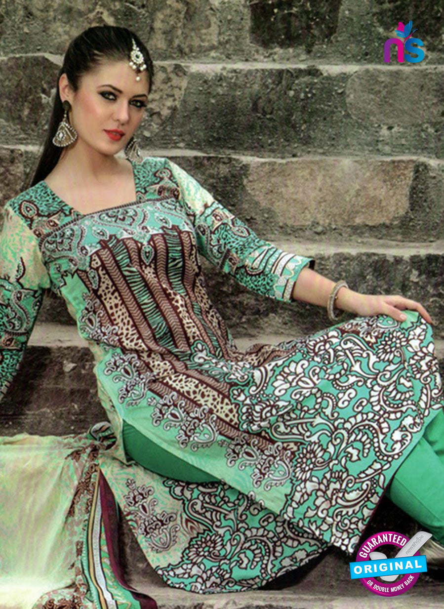NS 124509 Multicolor and Green Printed Cotton Straight Suit