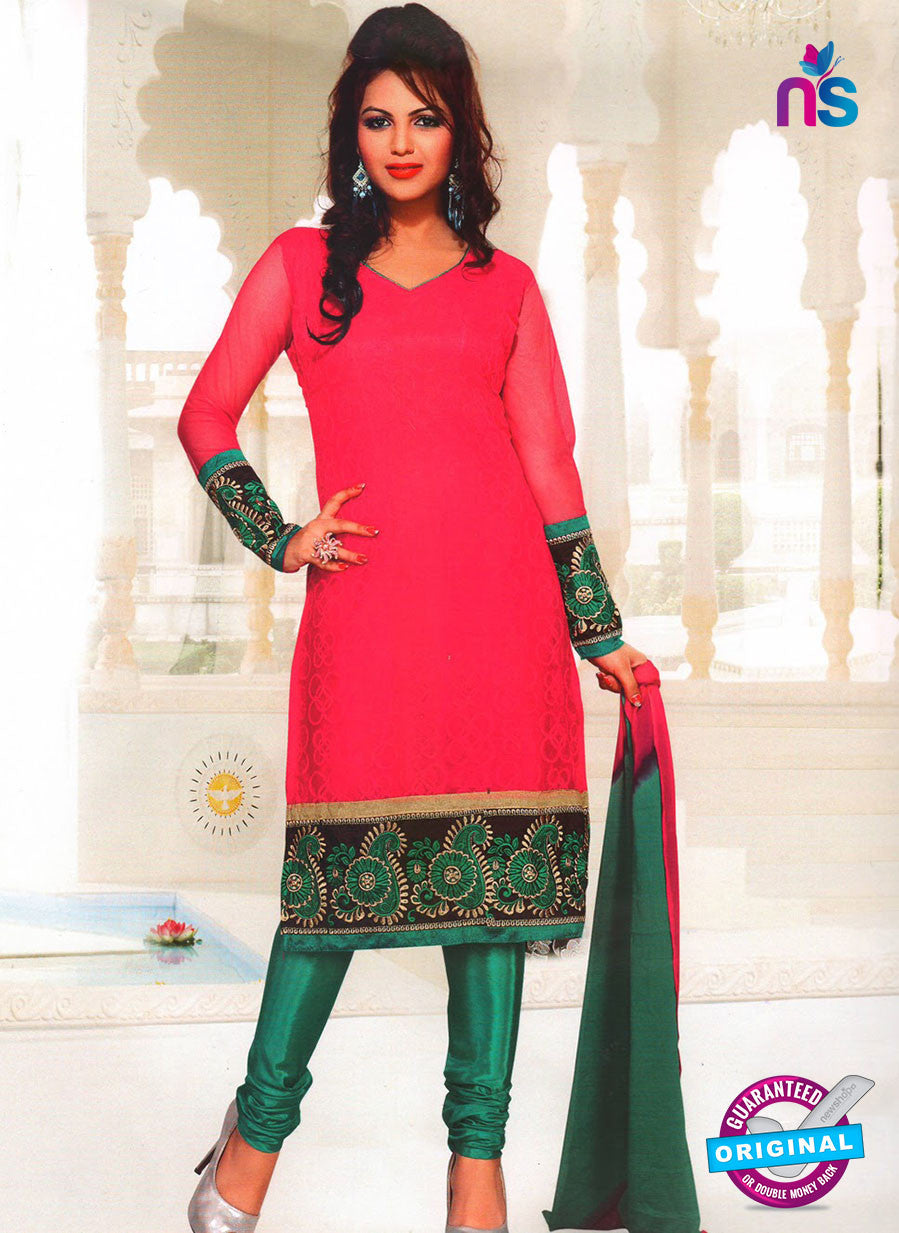 NS11039 Pink and Sea Green Party Wear Russel Net Salwar Suit