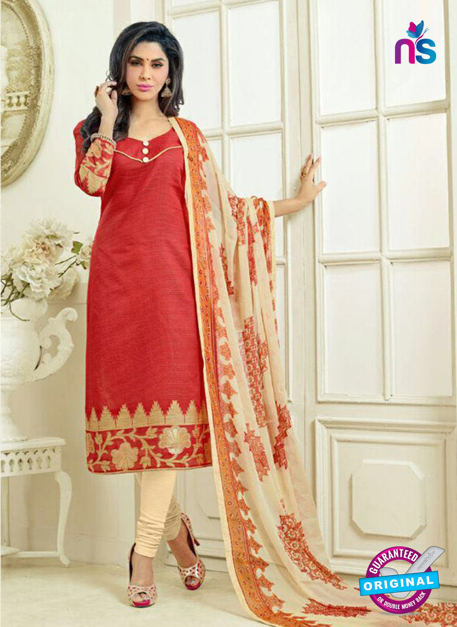 SC 13873 Red and Beige Banarasi Jacquard Latest Designer Fancy Straight Suit