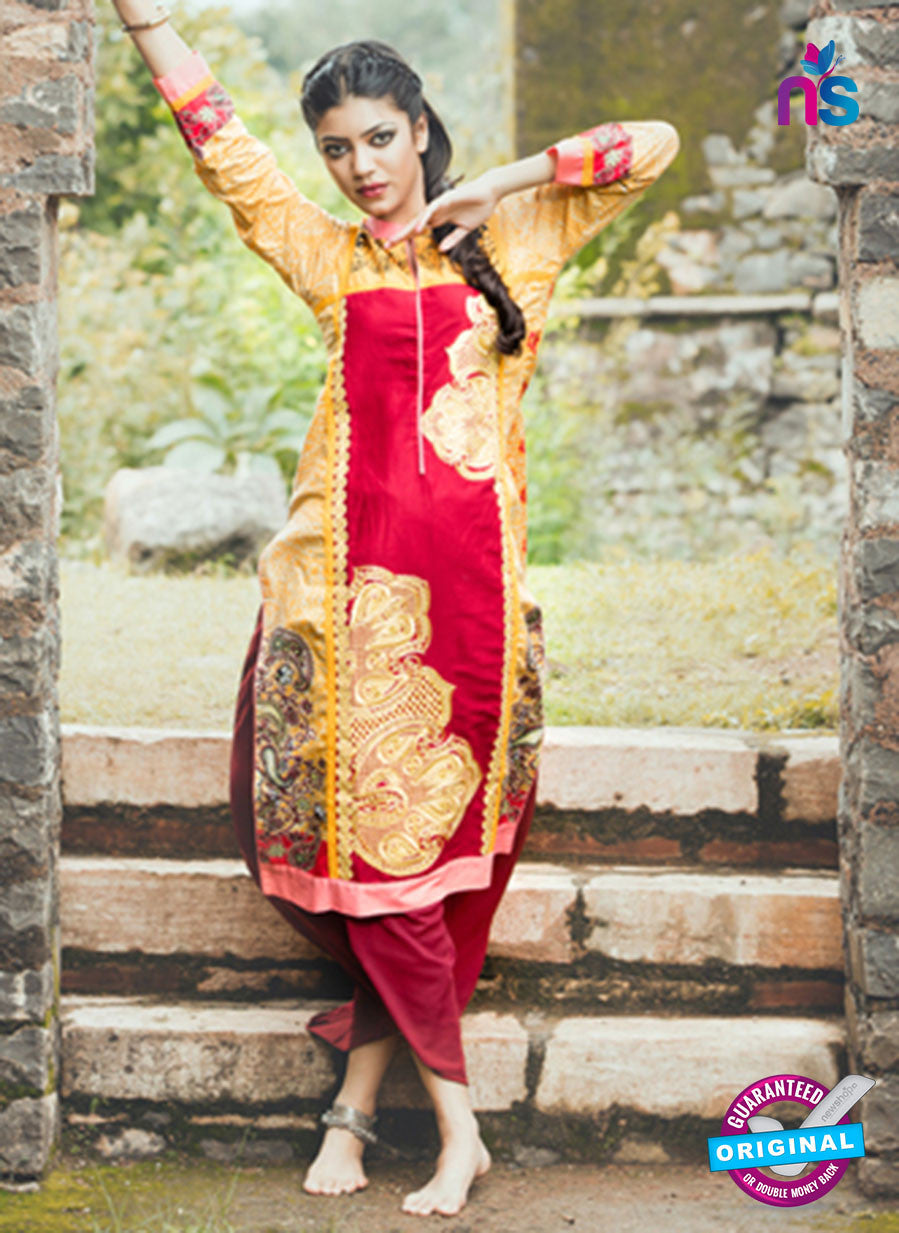 NS10061  Yellow and Red Cotton Lawn Kurti