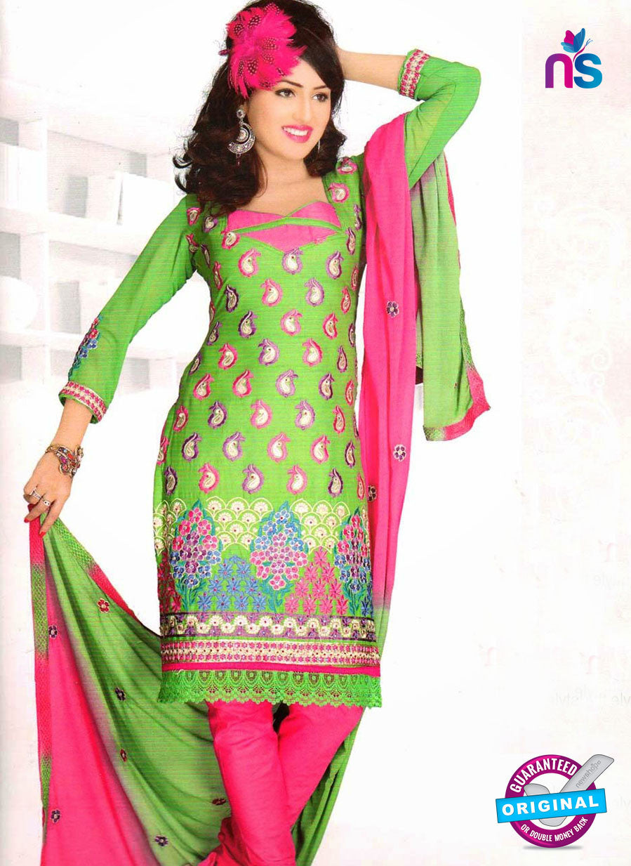 NS10843 Green and Deep Pink Georgette Chudidar Suit
