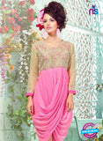 SC 12998 Beige and Pink Embroidered Georgette Party Wear Kurti