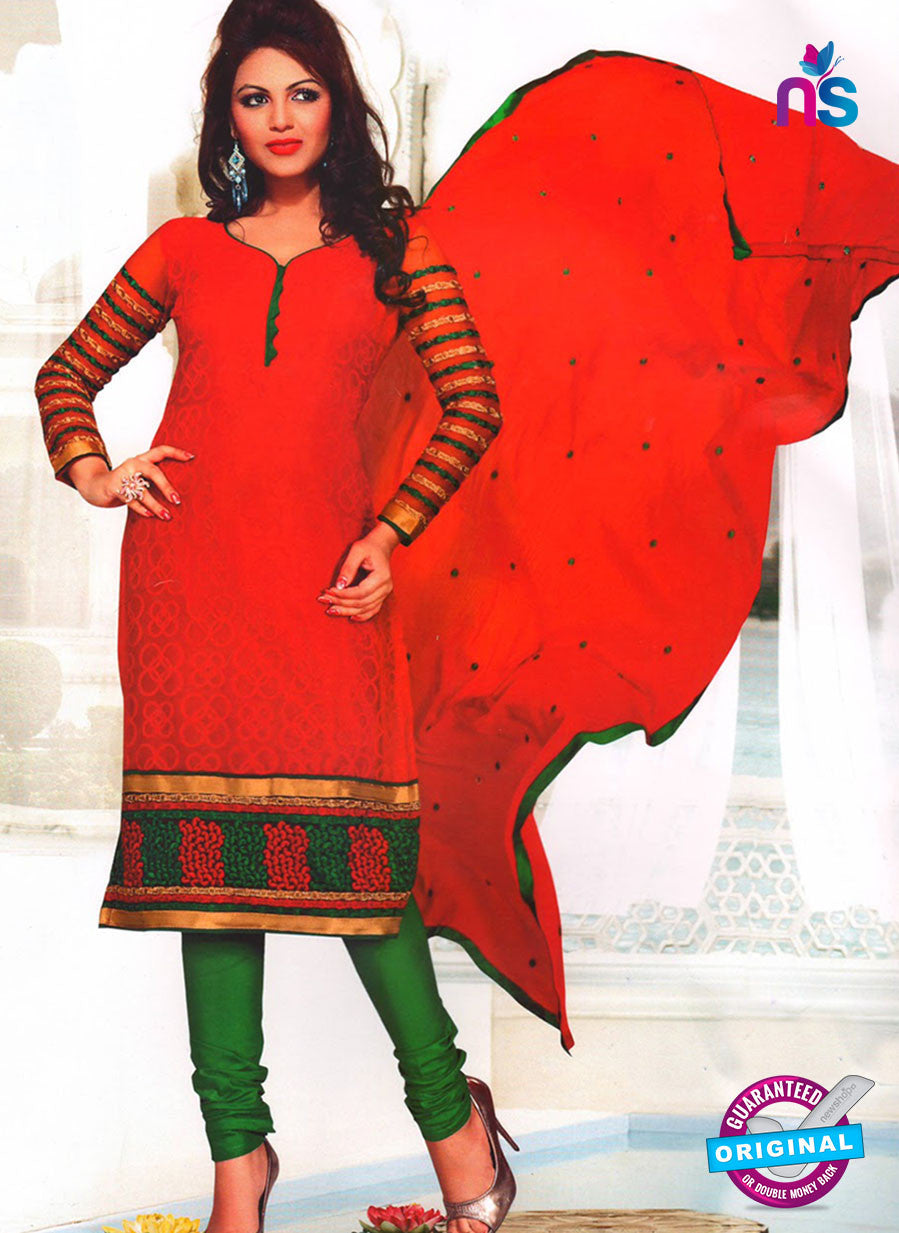 NS11040 Red and Green Party Wear Russel Net Salwar Suit