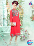 SC 13001 Red Embroidered Georgette Party Wear Kurti