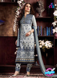 NS10962 Grey and Blue Cotton Party Wear Straight Suit