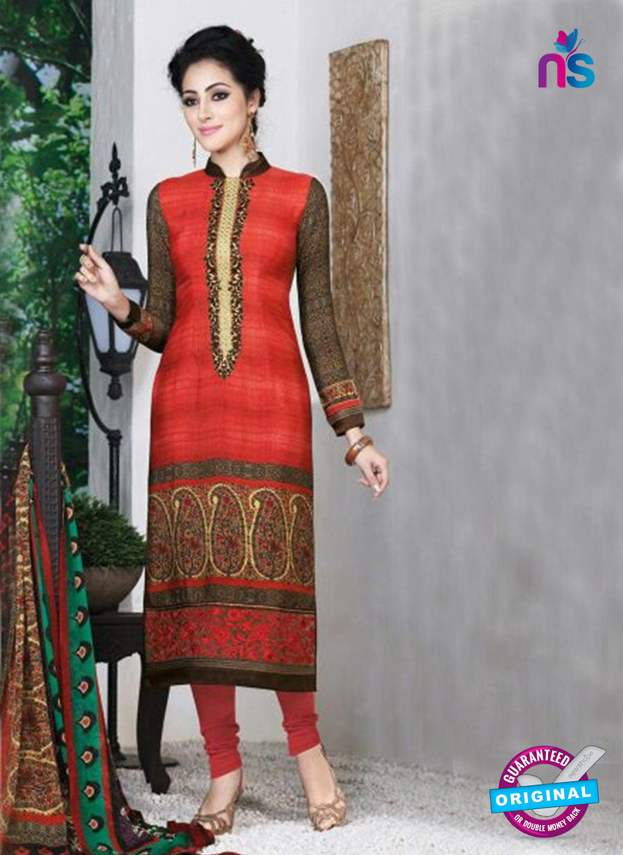 AZ 3501 Orange French Crepe Embriodery Formal Suit - Salwar Suits - NEW SHOP