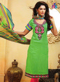 NS11463 LimeGreen and DeepPink Cotton Embroidered Straight Suit