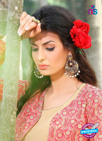 AZ 3301 Beige Embroidery Georgette Party Wear Suit Online
