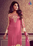 NS11477 Pink and Yellow Faux Georgette Pakistani Suit Online