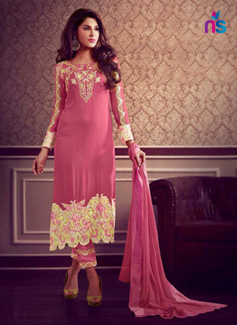 NS11477 Pink and Yellow Faux Georgette Pakistani Suit