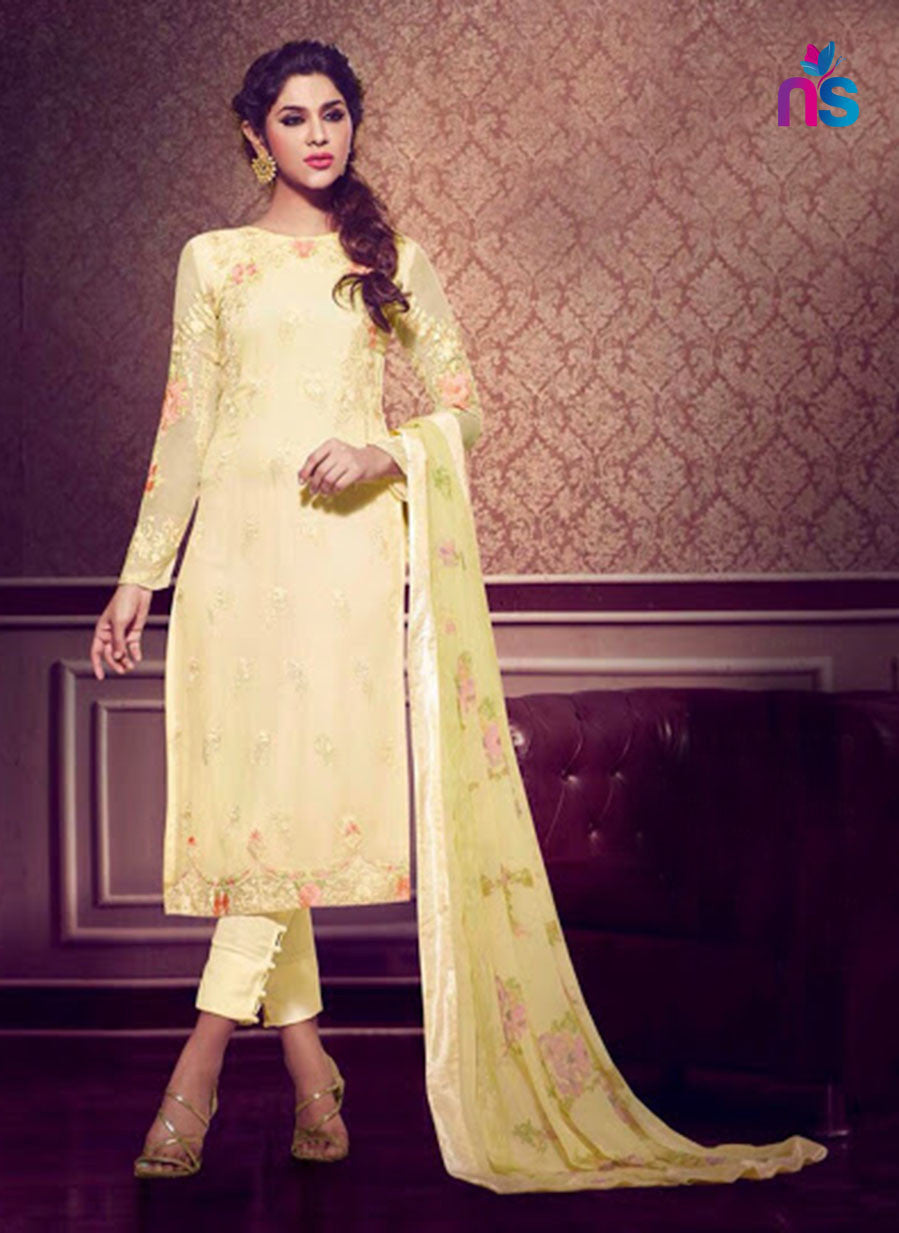 NS11481 LightYellow Faux Georgette Pakistani Suit