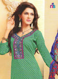 NS11464 SeaGreen and NavyBlue Cotton Embroidered Chudidar Suit
