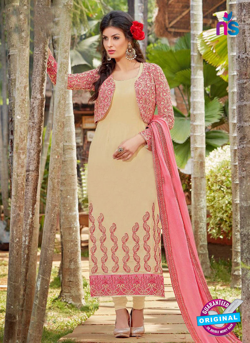 AZ 3301 Beige Embroidery Georgette Party Wear Suit