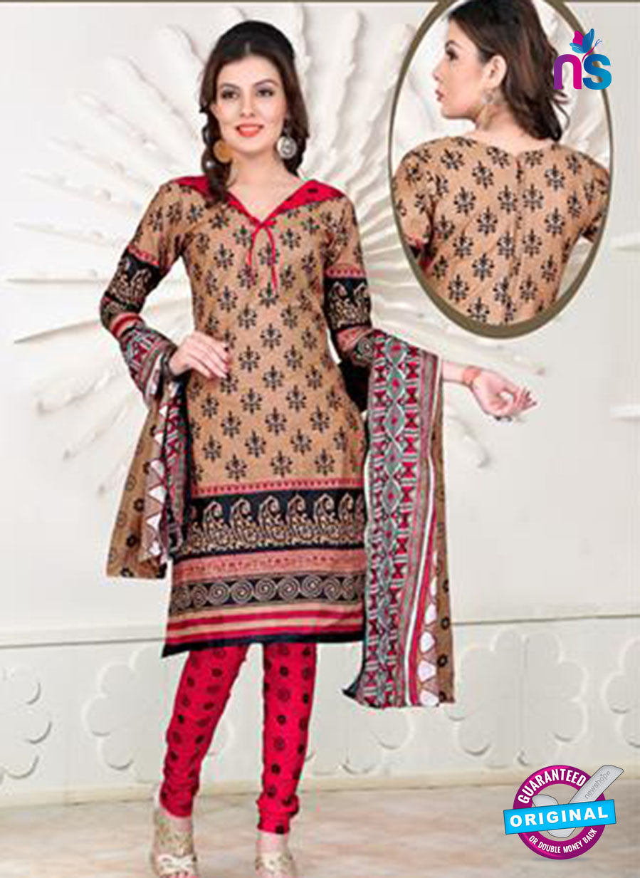 NS12102 Beige and Pink Chudidar Suit