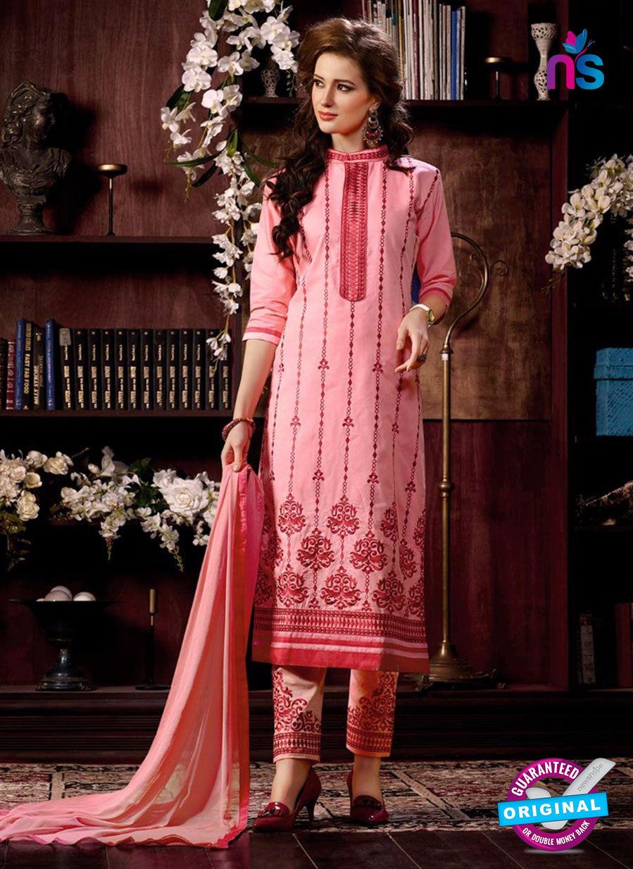 NS10963 Lavender Pink and Red Cotton Party Wear Straight Suit