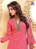 NS11465 HotPink and SpringGreen Cotton Embroidered Chudidar Suit