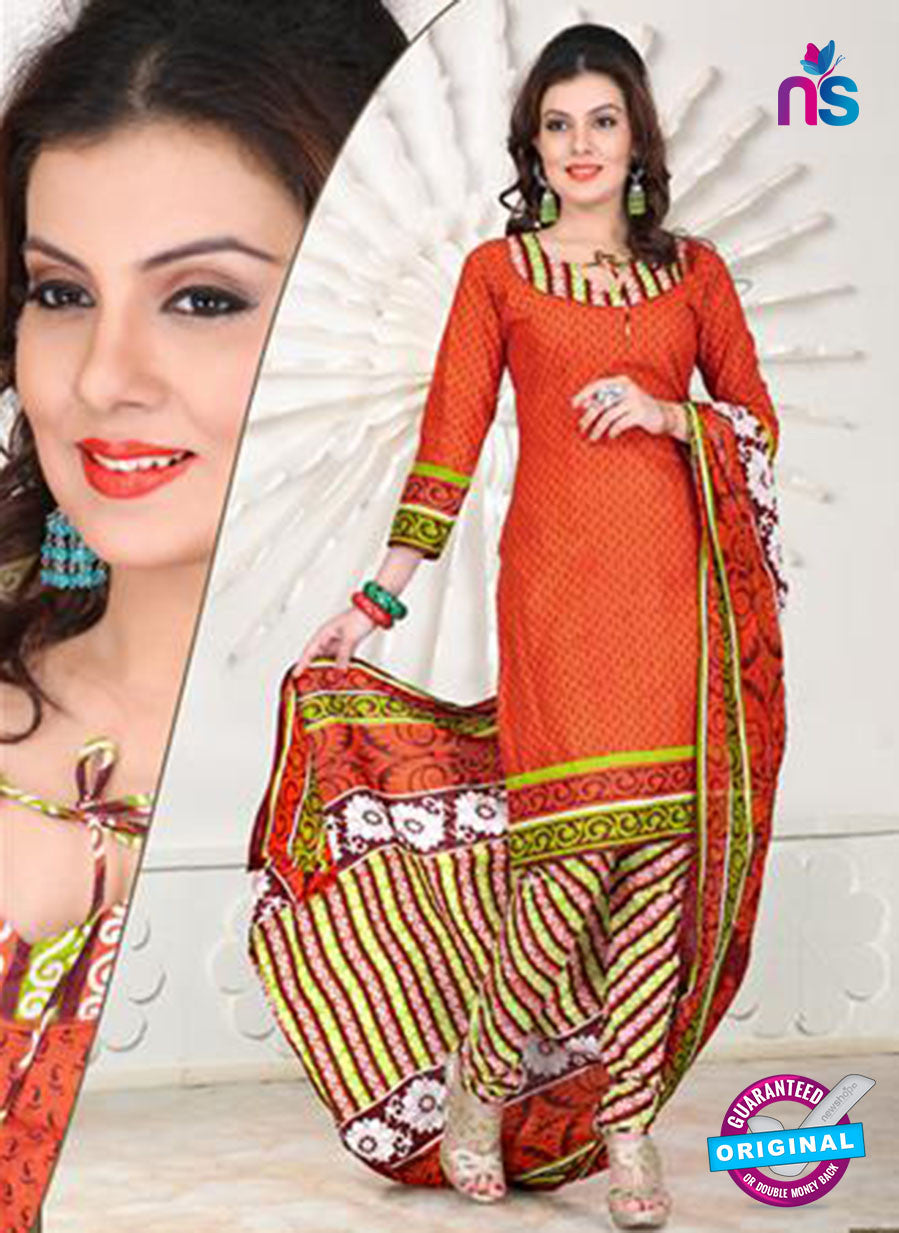 NS12103 Orange and Green Chudidar Suit