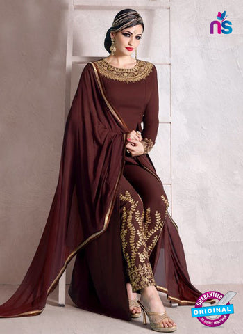 Nakkashi 1016 B Brown Bhagalpuri Georgette Pakistani Suit