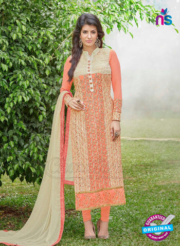 AZ 3303 Peach Embroidery Georgette Party Wear Suit