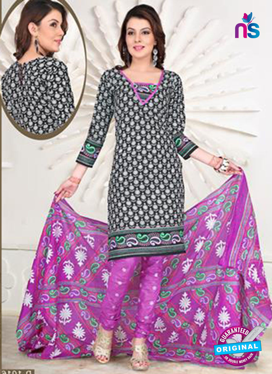 NS12104 Black and Purple Chudidar Suit