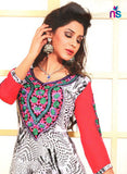 NS11466 Ivory Red and Green Cotton Embroidered Straight Suit