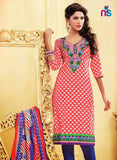 NS11467 Red and Blue Cotton Embroidered Chudidar Suit