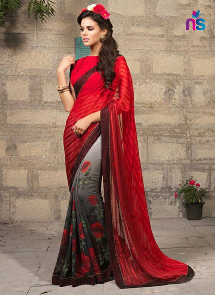NS11326 Red and Black Party Wear Georgette Saree